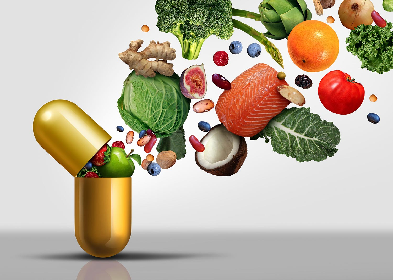 Nutritional food being squashed into a supplement pill